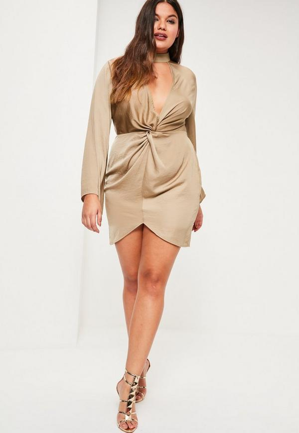 Plus Size Beige Hammered Satin Tab Neck Dress