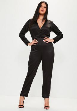 Plus Size Black Satin Knot Detail Jumpsuit