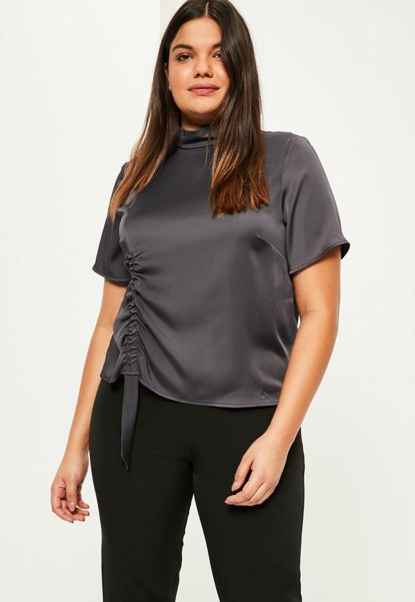Plus Size Grey Ruched Satin Top