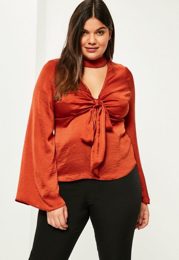 Plus Size Orange Satin Choker Neck Blouse