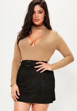 Plus Size Black Faux Suede Bull Ring Mini Skirt