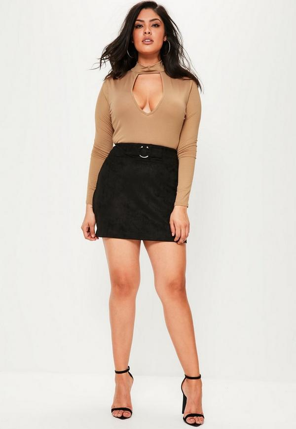 Plus Size Black Faux Suede Bull Ring Mini Skirt | Missguided