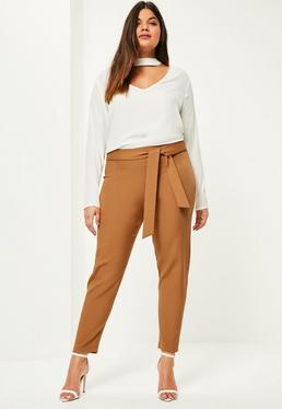 Plus Size Camel Belted Cigarette Trousers