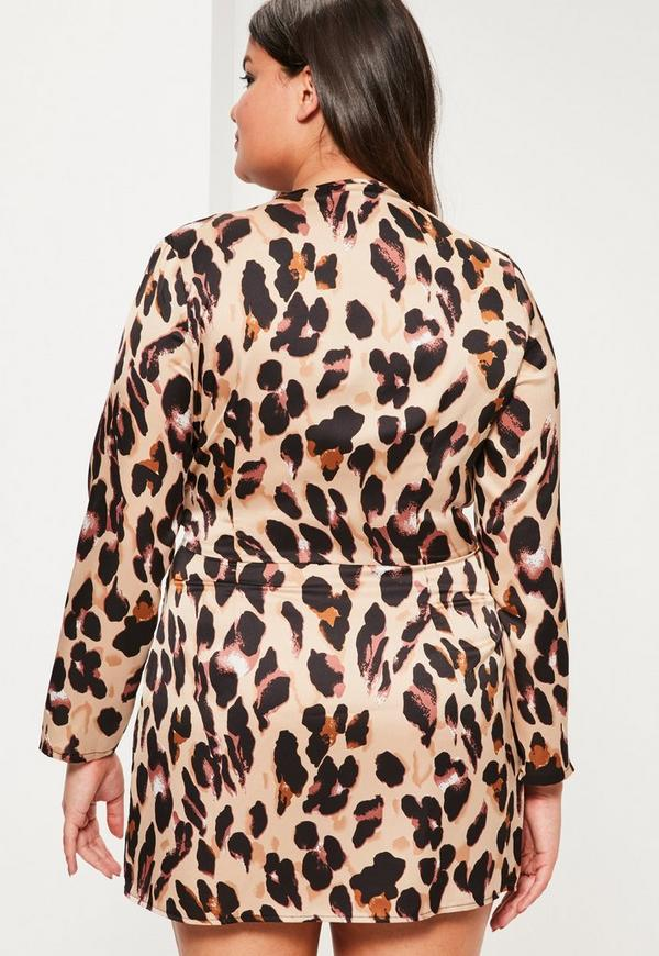 Plus Size Brown Leopard Print Wrap Dress | Missguided