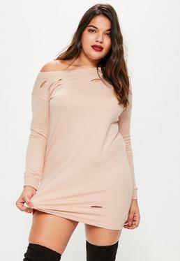 Beżowa owersajzowa sukienka bluza z dziurami Plus Size
