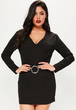 Plus Size Black Ring Detail Belted Dress