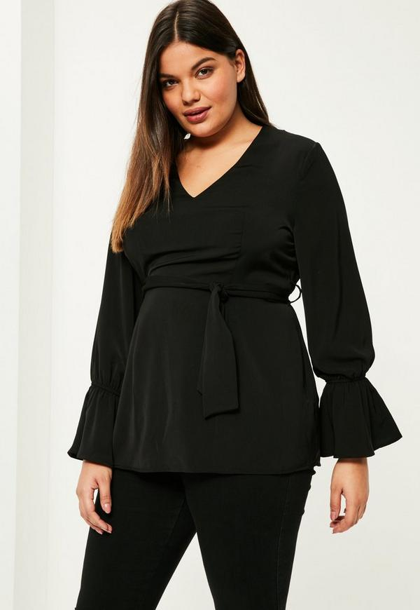Plus Size Black Frill Cuff Belted Top