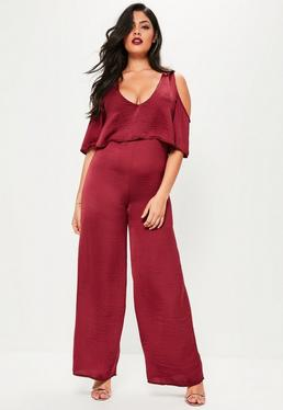 Plus Size Burgundy Hammered Satin Cold Shoulder Jumpsuit