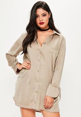 Brązowa sukienka koszulowa z marszczonej satyny Plus Size