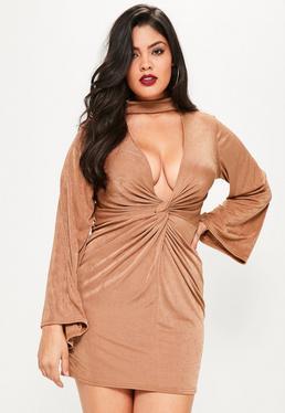 Plus Size Brown Choker Neck Knot Detail Slinky Dress