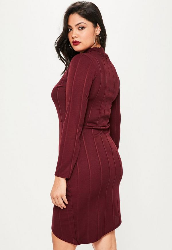 Plus Size Burgundy Bandage High Neck Dress   Missguided