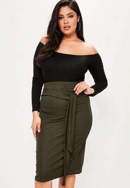 Plus Size Khaki Tie Waist Midi Skirt