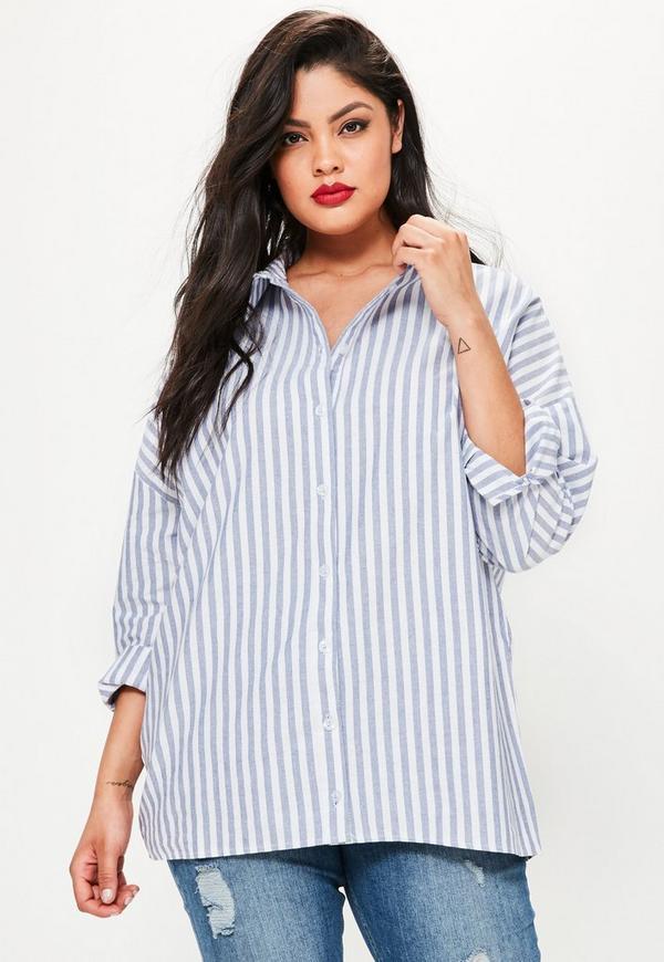 Plus Size Blue Stripe Cotton Boyfriend Shirt