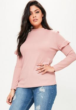 Plus Size Pink High Neck Ribbed Top