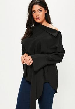 Plus Size Black Belted Shirt