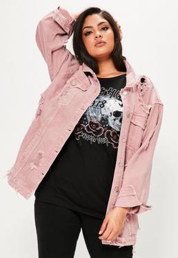Plus Size Distressed Denim Jacke in Rosa