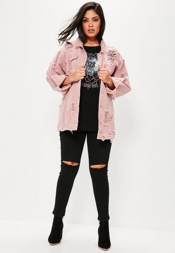 Curve Pink Distressed Denim Jacket | Missguided