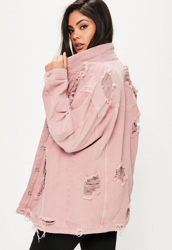 Curve Pink Distressed Denim Jacket | Missguided