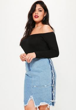 Plus Size Blue Lace Up Side Denim Midi Skirt