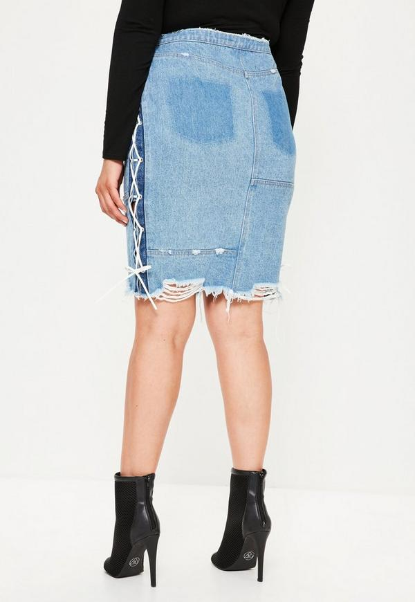 Plus Size Blue Lace Up Side Denim Midi Skirt | Missguided