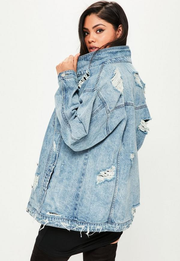 curve blue authentic ripped denim jacket | missguided