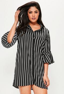 Granatowa sukienka koszulowa w paski Plus Size