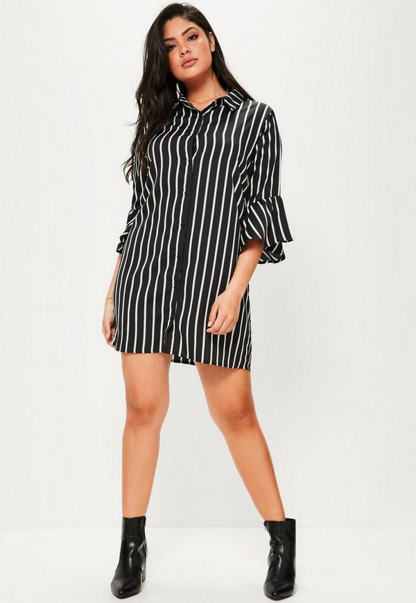Plus size navy striped shirt dress missguided for Navy striped dress shirt