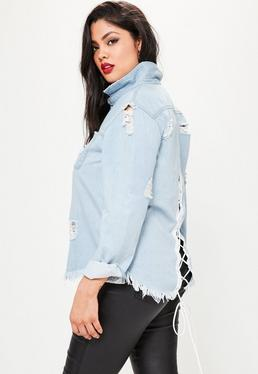 Plus Size Blue Lace Up Back Denim Shirt