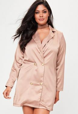 Plus Size Nude Satin Choker Neck Tuxedo Dress