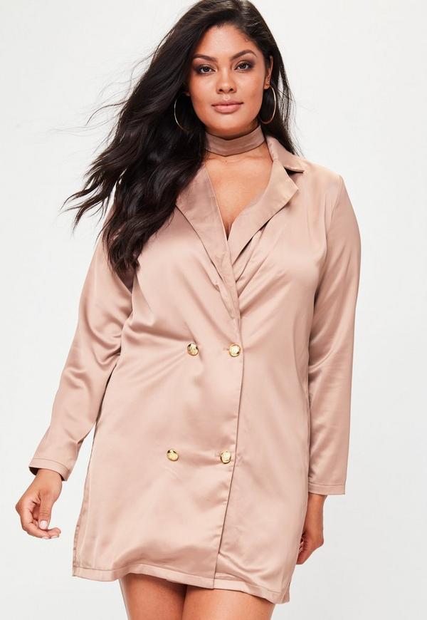 Plus Size Nude Satin Choker Neck Tuxedo Dress