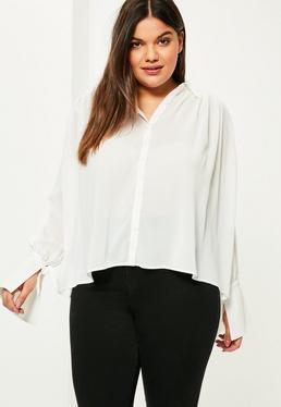 PLUS Plissierte Chiffon-Bluse in Weiß