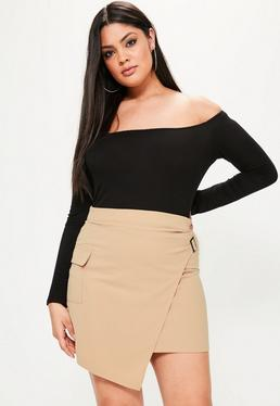 Plus Size Nude Wrap Buckle Side Pocket Detail Skirt