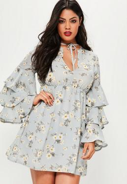 Plus Size Blue Shade Floral Print Frill Sleeve Dress
