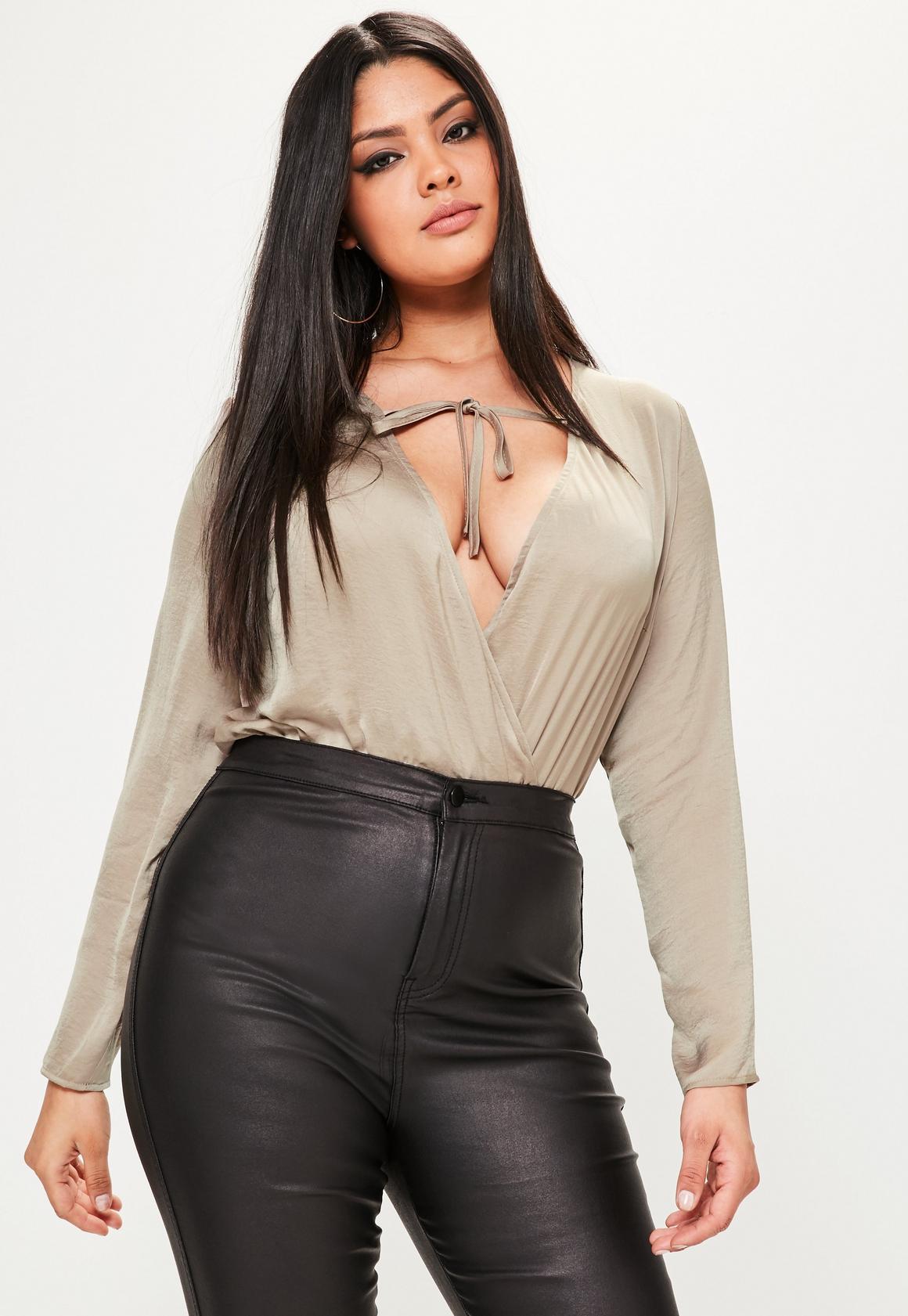 curve brown hammered satin plunge bodysuit   missguided