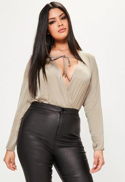 Plus Size Brown Hammered Satin Plunge Bodysuit