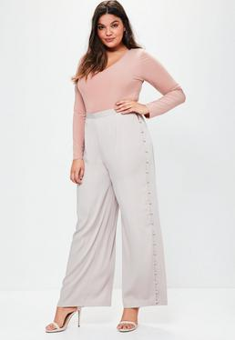 Plus Size Grey Satin Wide Leg Trousers