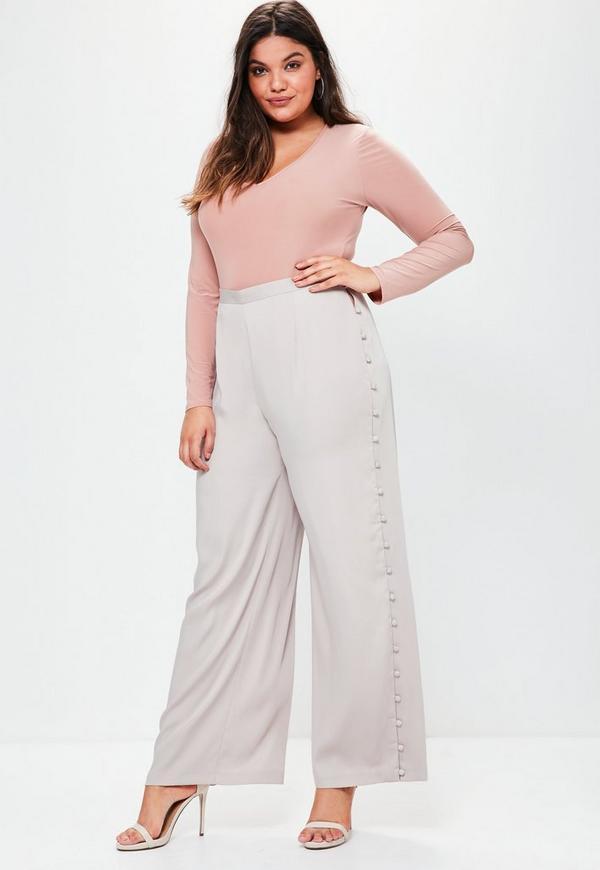 Plus Size Grey Satin Wide Leg Trousers
