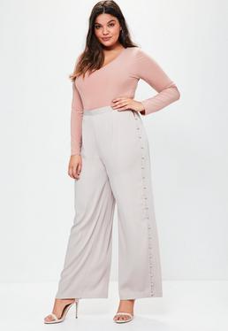 Szare satynowe spodnie z szerokimi nogawkami Plus Size