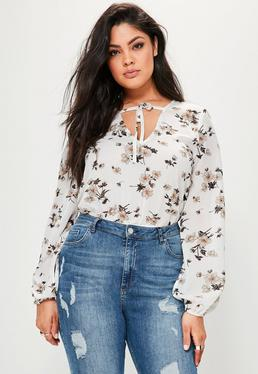 Curve White Floral Printed Tie Bodysuit