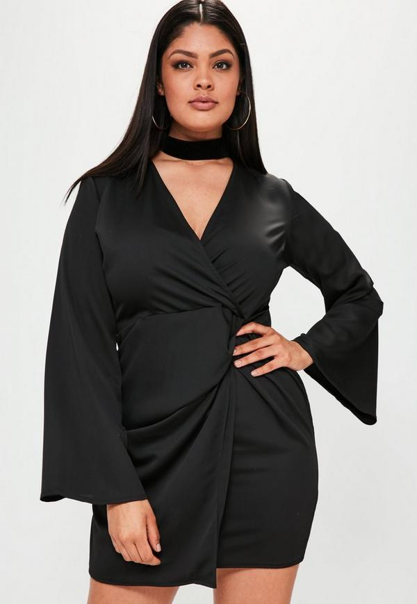 Plus Size Black Flared Sleeve Ruched Dress