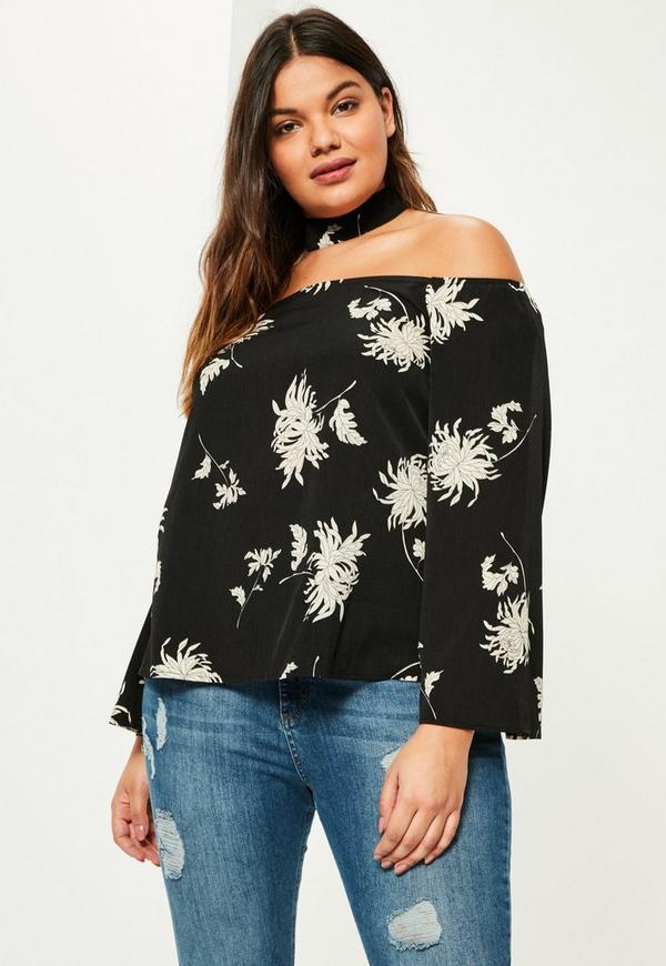 Plus Size Black Floral Printed Choker Neck Bardot Blouse