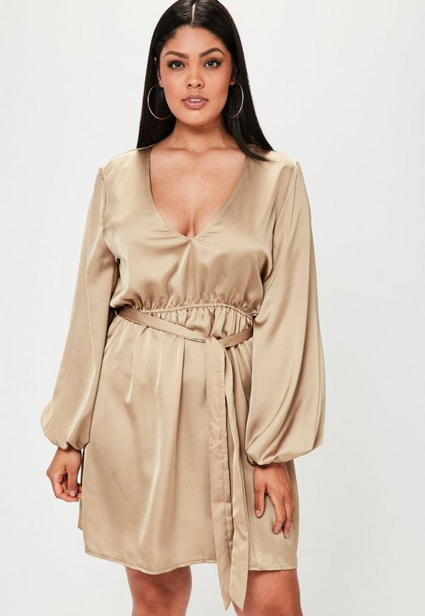 Plus Size Nude Satin Belted Elasticated Sleeve Dress