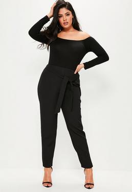 Plus Size Black Belted Cigarette Trousers