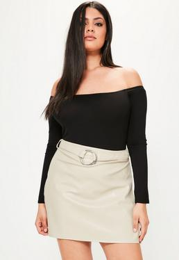 Plus Size Grey Faux Leather Belted Mini Skirt