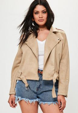 Plus Braune Jacke aus Faux Wildleder mit Metall Reißverschlüssen
