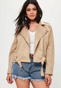 Veste marron zippée en suédine grandes tailles