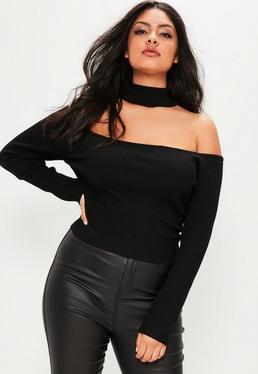 Plus Size Gerippter Choker-Pullover in Schwarz