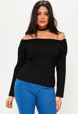 Plus Size Schulterfreier Rippen-Pullover in Schwarz