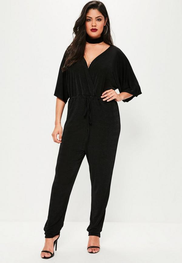 Plus Size Black Slinky Kimono Sleeve Wrap Jumpsuit