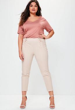 Plus Size Pink Lace Up Detail Cigarette Trousers